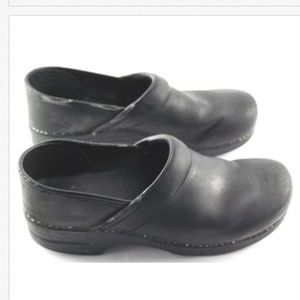 Dansko Black Stapled Clogs Size 44